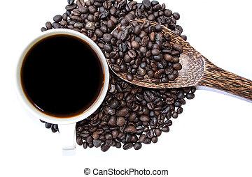 café, graine, pile, tasse