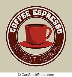 café, graphique, express, étiquette, tasse