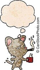 café, grunge, modèle, cigare, style, texture, chat, a pensé bulle, dessin animé