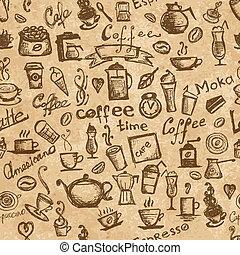 café, grunge, seamless, tiempo, diseño, plano de fondo, su