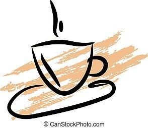 café, grunge, taza, cofee, plano de fondo, silueta, icon.