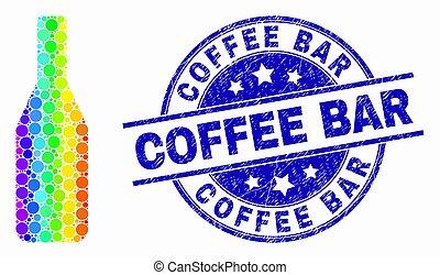café, grunge, timbre, clair, bière, vecteur, bouteille, barre, pixel, icône