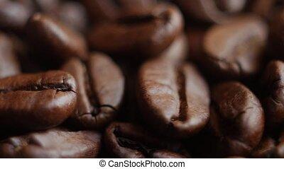 café, haut, rotating., haricots, rôti, fin, table.
