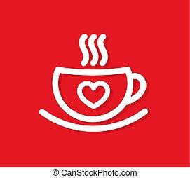 café, heart., tasse