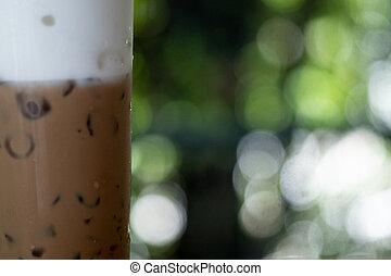 café helado, vidrio, alto, cierre, capa, leche, arriba