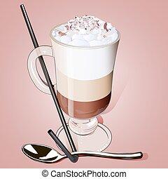 café, helado, vidrio, paja