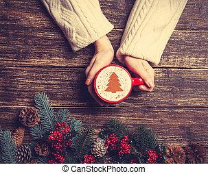café, hembra, taza, árbol, tenencia, tabl, navidad, crema