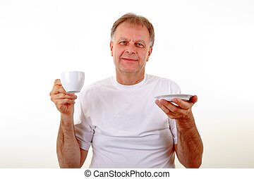 café, homem, copo