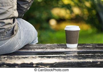 café, homme, banc