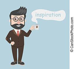 café, homme, business, inspiration