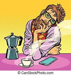 café, homme, hipster, matin