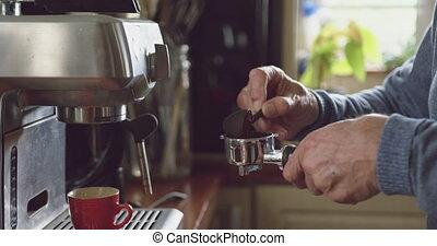 café, homme, maison, personne agee, confection