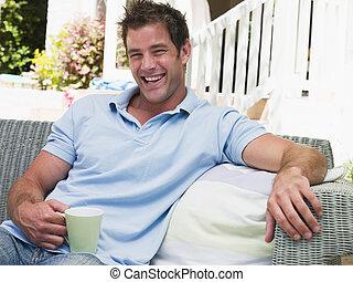 café, homme, rire, patio, séance