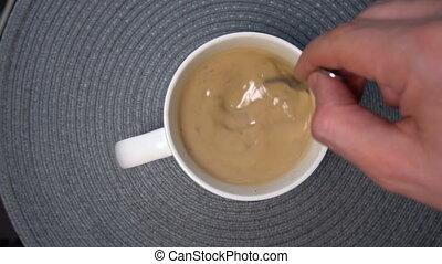 café, homme, tasse, blanc, lait, mélange