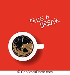café, horloge, illustration, tasse
