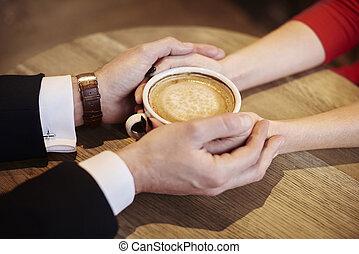 café, human, copo, cima, segurar passa, fim