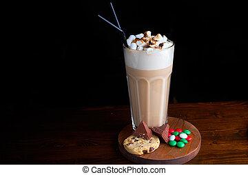 café iced, com, creme gelo chocolate