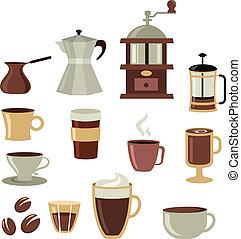 café, iconos, conjunto, -, 3