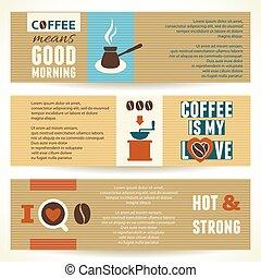 café, illustration., banners., tema, vetorial, horizontais