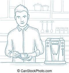 café, illustration., croquis, vecteur, confection, homme