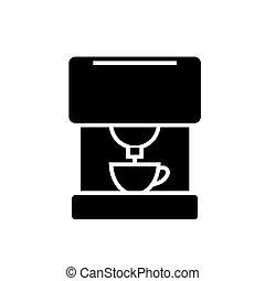 café, illustration, isolé, signe, machine, vecteur, arrière-plan noir, icône