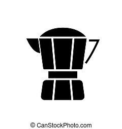 café, illustration, isolé, signe, vecteur, arrière-plan noir, icône, fabricant