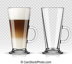 café, illustration, latte, verre, vecteur, fond, transparent