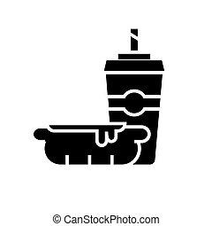 café, illustration, nourriture, tasse, -, isolé, jeûne, chien, chaud, vecteur, arrière-plan noir, icône, signe