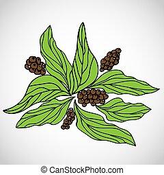 café, illustration., padrão, esboço, mão, vetorial, desenho
