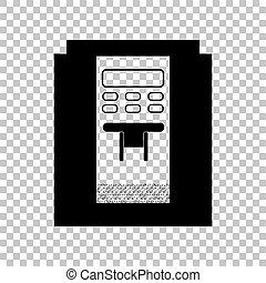 café, illustration., signe., machine, arrière-plan., noir, transparent, icône