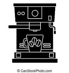 café, illustration, tasse, isolé, signe, machine, vecteur, arrière-plan noir, icône