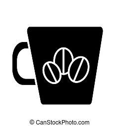 café, illustration, tasse, isolé, signe, vecteur, haricots, fond, icône, noir