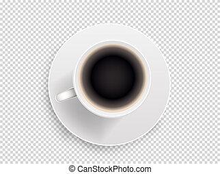 café, illustration., tasse, objet, isolé, vecteur, fond, blanc, transparent
