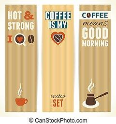 café, illustration., vertical, banners., tema, vetorial