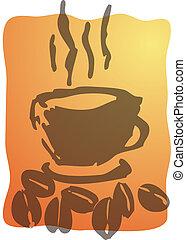 café, ilustración, taza