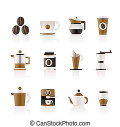 café, industria, señales, y, iconos