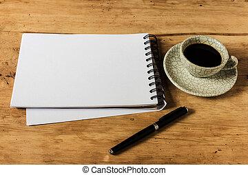 café, instant, tasse, papier, travail, stylo, bureau