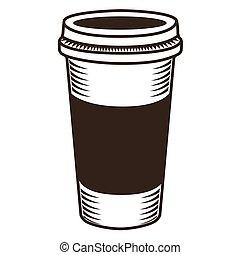 café, isolé, croquis