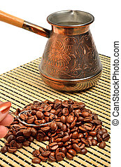 café, isolé, main, pot, petite cuillère, tenue, blanc, nappe