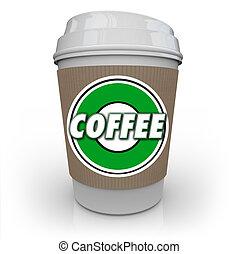 café, java, taza, bebida, cafeína, mañana, plástico