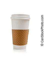 café, jetable, fond blanc, tasse