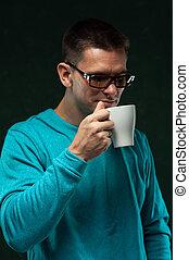 café, jeune, hipster, élégant, boire, homme