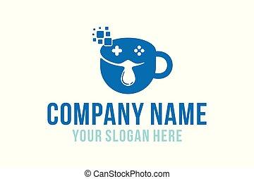 café, juego, logotipo, diseños, inspiración, vector, ilustración