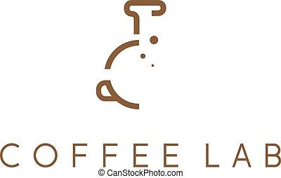 café, laboratório, abstratos, símbolo, vetorial, desenho, modelo
