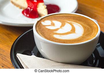 café, lait, art, chaud