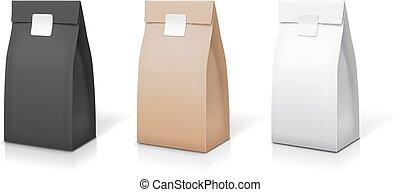 café, lanche, sachet, pacote, alimento, chá, set., isolado, ilustração, embalagem, saco, folha, vetorial, papel, collection., pacote