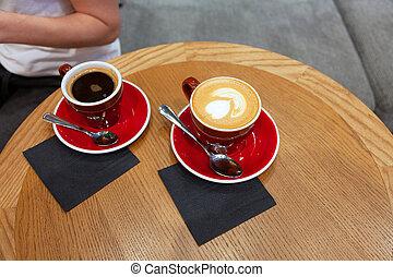 café, latte, table, bois, tasses, deux, art