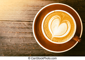 café, latte, tasse