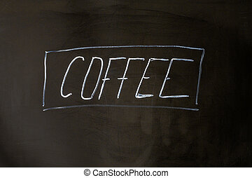 café, lettering, giz, ligado, pretas, escola, tábua, experiência.