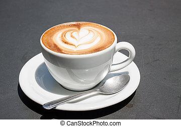 café, ligado, cinzento, superfície